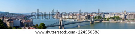 Panoramic summer view to Budapest from a hill Gelert. Hungary - stock photo