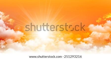 Panoramic sunrise. High resolution orange sky background. The sun breaking through white clouds - stock photo