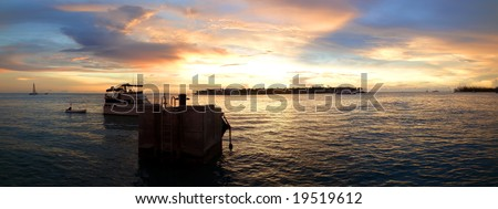Panoramic sunset in Key West, Florida Keys - stock photo