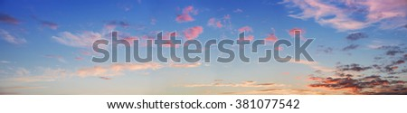 panoramic sunset sky with pink clouds, large size - stock photo