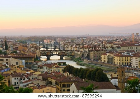 Panoramic sunset view to Florence, Tuscany, Italy - stock photo