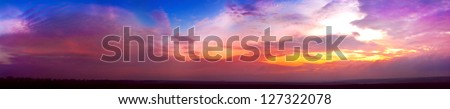 panoramic sunset with lilac and yellow colors go very well for site header