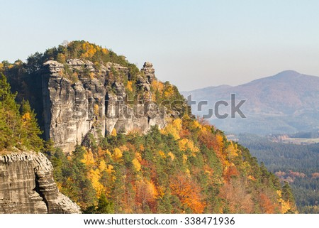panoramic top view of colorful autumn rocky landscape in the mountainous national park Czech-Saxon Switzerland at northern Czech Republic - Europe - stock photo
