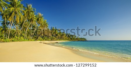 Panoramic tropical beach - stock photo