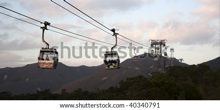 Panoramic view at a cableway in mountains