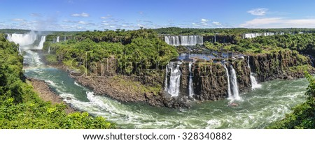 Panoramic view at Iguazu Falls, one of the New Seven Wonders of Nature, Brazil - stock photo
