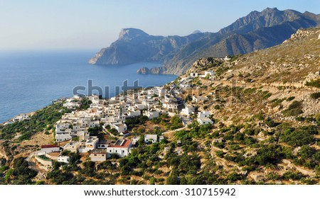 Panoramic view at Mesochori village, Karpathos island, Greece - stock photo