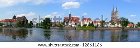 Panoramic view at Ostrow Tumski, Wroclaw, Poland - stock photo