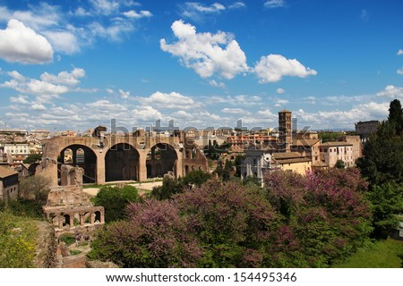 Panoramic view at Roman Forum from the Palatine Hill, Rome, Italy