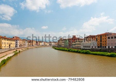 Panoramic view at the Arno river in Pisa, Italy - stock photo