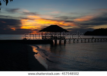 Panoramic View Bungalow in Indonesia Village Tropical Beach in Bali Island Sunset.Romantic Viewpoint.Summer Season Caribbean ocean. Horizontal Picture
