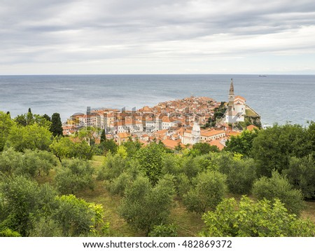 Panoramic view city of Piran in Istria, Slovenia