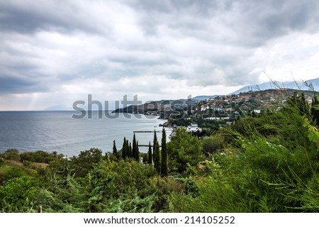 Panoramic view Crimea beach, Yalta resort, Russia