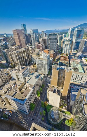 Panoramic view from above downtown of  Vancouver, Canada. - stock photo