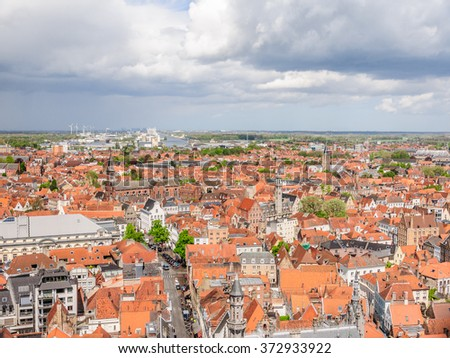 Panoramic view from above the top of Belfort (Belfry) tower, Bruges (Brugge), Belgium