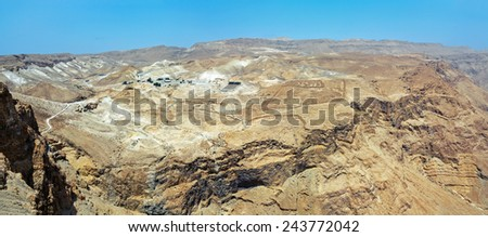 Panoramic view from ancient fortress Masada to the North - Israel - stock photo
