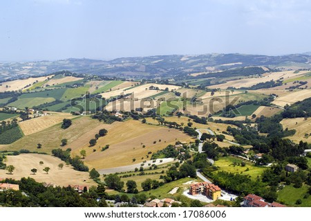 Panoramic view from Arcevia (Pesaro Urbino, Marche, Italy) at summer