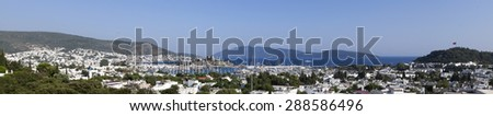 Panoramic view from Bodrum Castle - stock photo