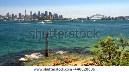 Panoramic view from Bradley's Head (Sydney, NSW, Australia). - stock photo