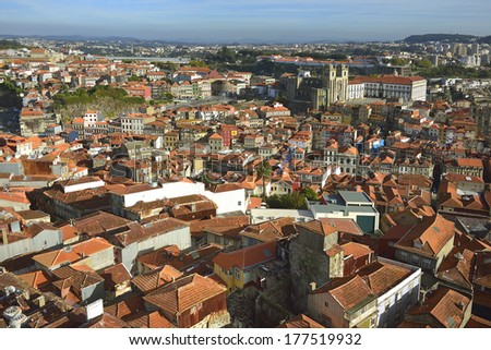 Panoramic view from Clerigos Tower in Porto. Portugal. - stock photo