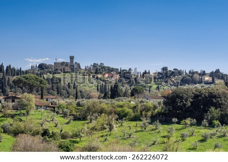 Panoramic view from from the Boboli Gardens. Torre del Gallo - historical ancient building in Florence, Tuscany, Italy. - stock photo