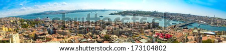 Panoramic view from Galata tower to Golden Horn, Istanbul, Turkey - stock photo