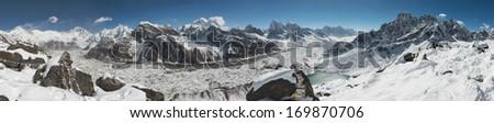 Panoramic View from Gokyo Ri over Mount Everest, Lhotse, Gokyo Lake, and the Ngozumpa Glacier, Himalaya, Nepal - stock photo