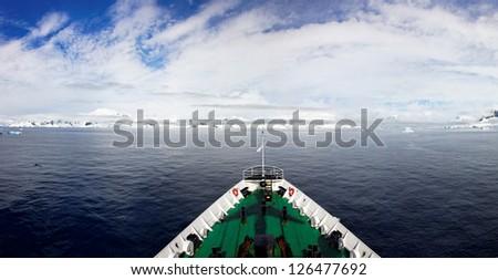 Panoramic view from icebreaker, west coast of Antarctic Peninsula, Antarctica - stock photo
