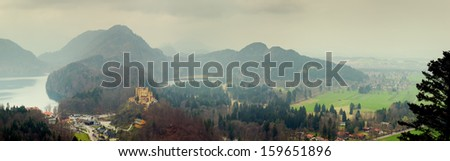 panoramic view from Neuschwanstein Castle, Bavaria, Germany - stock photo