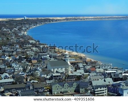Panoramic view from pilgrims' monument in provincetown, massachusetts - stock photo