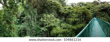 Panoramic view from Santa Elena Cloud Forest from a suspended bridge in Costa Rica - stock photo