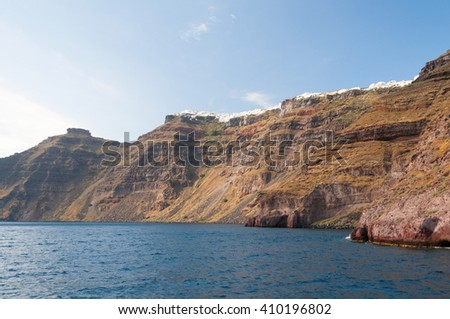 Panoramic view from the boat,  Santorini island, Greece - stock photo