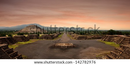 Panoramic view from the Pyramid of the Moon at the ancient Mayan city of Teotihuacan, Mexico. - stock photo
