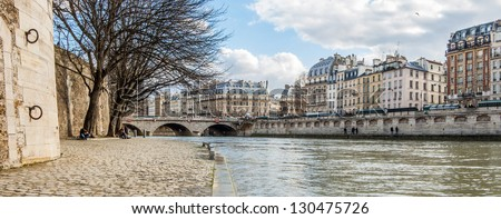 Panoramic view from  the Seine River quay, Paris, France - stock photo