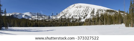 Panoramic view from the Spruce Creek Trail near Breckenridge, in the Colorado Rockies. - stock photo