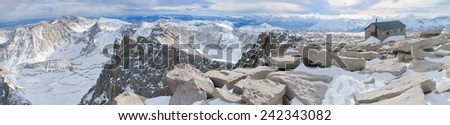 Panoramic View from the Summit of Mt. Whitney, California - stock photo