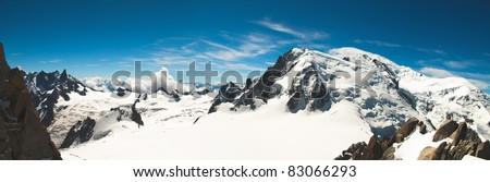 Panoramic view from the top of Mont-Blanc in summer - stock photo