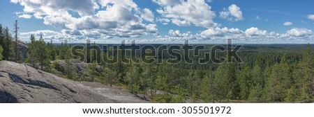 Panoramic view from the top of the Koli national park - stock photo