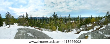 Panoramic view from the top of the Koli National Park, Finland, Europe - stock photo