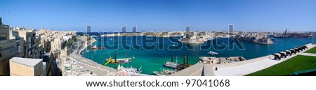 Panoramic view from the Upper Baccarra Garden,Valletta, Malta