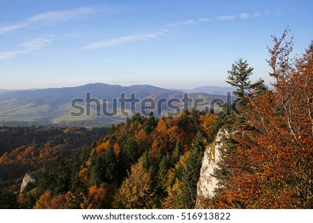 panoramic view from Three Crowns peak in Pieniny Mountains, Poland