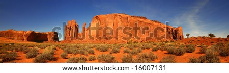 Panoramic View in Monument Valley, Navajo Nation, Arizona - stock photo