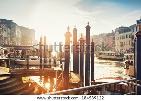Panoramic view in the morning with backlighting of Canal Grande in Venice, Italy - stock photo
