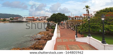 Panoramic view in the Plaza de Francia, Casco Viejo, Panama City, Panama - stock photo