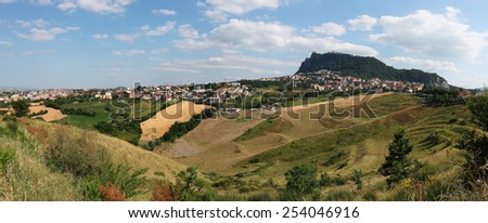 Panoramic view Italian landscape in Tuscany - stock photo