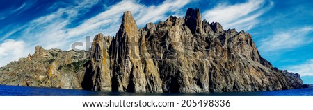Panoramic view  Karadag rocks. Koktebel. Crimea. - stock photo