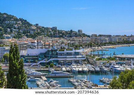 Panoramic view: Le Suquet - the Old town and Port Le Vieux in Cannes, Cote d'Azur, France.