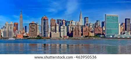 panoramic view new york city midtown manhattan skyline