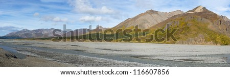 Panoramic view of a Braided River in Denali National Park, Alaska - stock photo