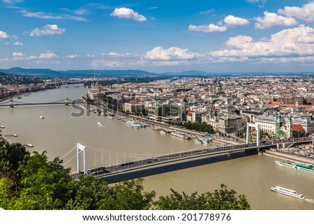 Panoramic view of a building of the Hungarian parliament, Danube and chain Secheni Bridge